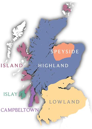 В каких регионах Шотландии производят виски