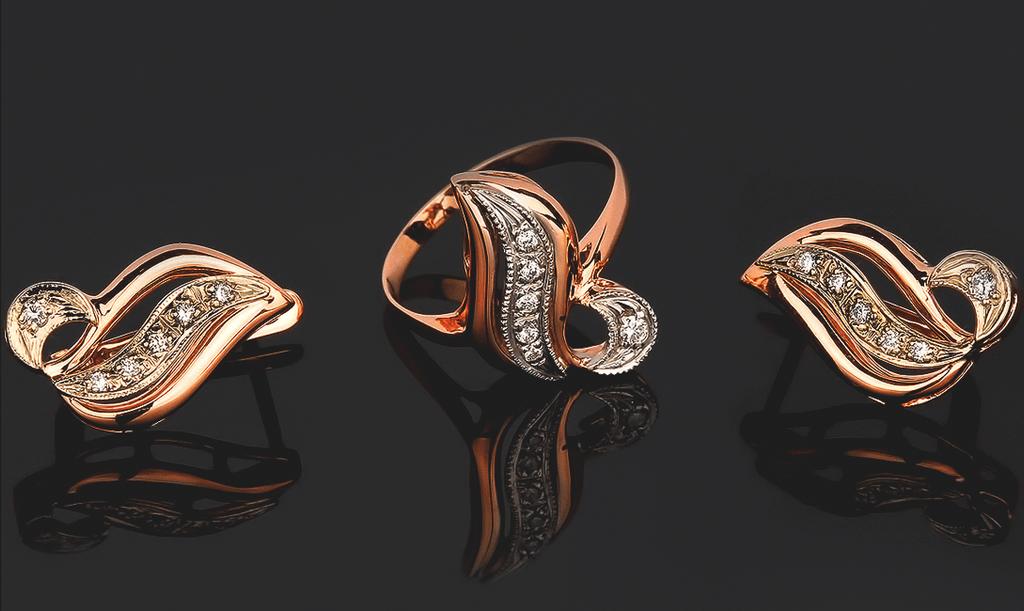 Серьги и кольцо в Комплекте ювелирных украшений